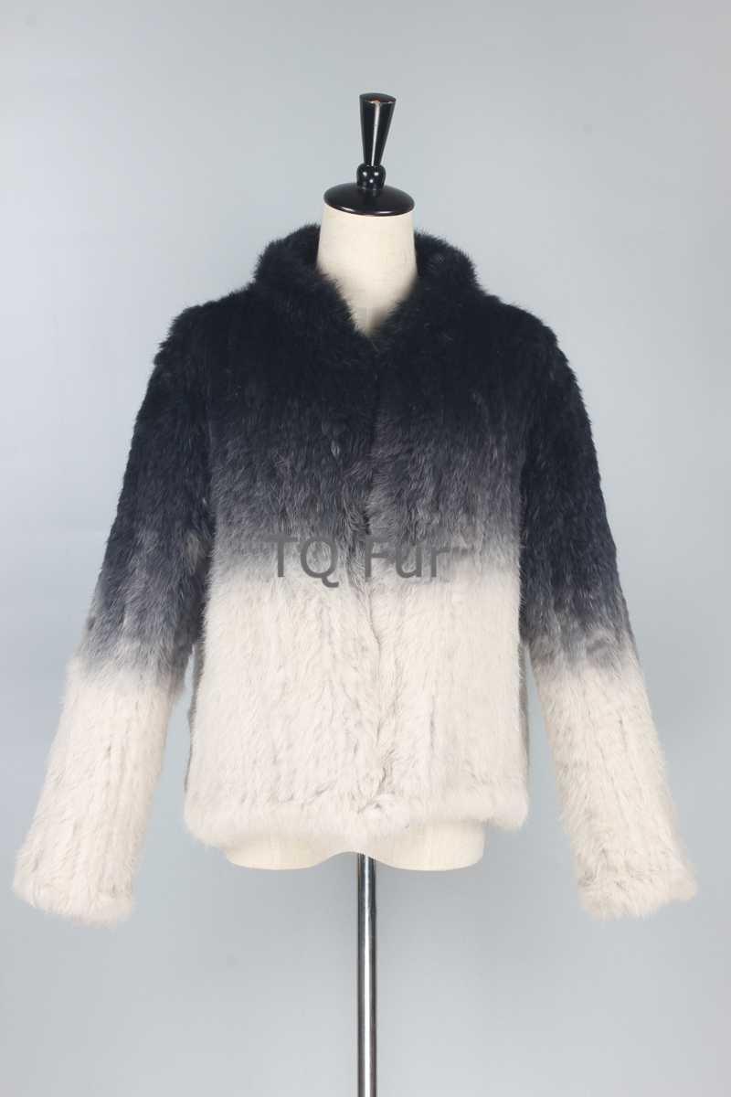 Gerçek hakiki tavşan kürk degrade örgü ceket kalın ceket palto kaliteli bir