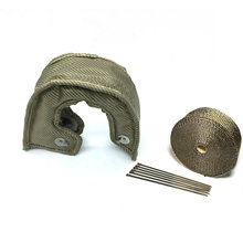 TITANIUM T3/T4 TURBO HEAT BLANKET GARRETT Stainless Steel Mesh Lined + 5M Titanium Exhaust Wrap