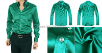 Free Shipping Green Purple Bright Fabric Mens Tuxedo Shirts Party Wedding Shirts