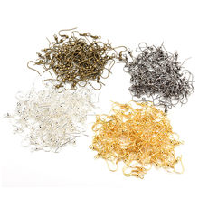 50PCS/pack Gold Silver Bronze Ear Wire Nickel Hooks Coil Earrings For Jewelry Making Craft DIY Wholesale(China)
