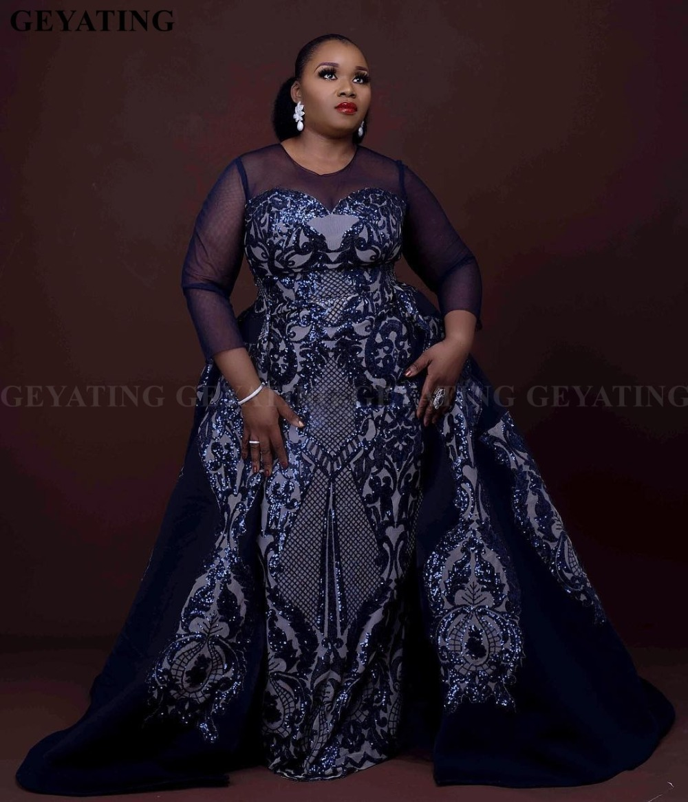 Sparkly Sequin Navy Blue African   Evening     Dress   with Detachable Train Long Sleeves Elegant Women Formal Prom   Dresses   Plus Size