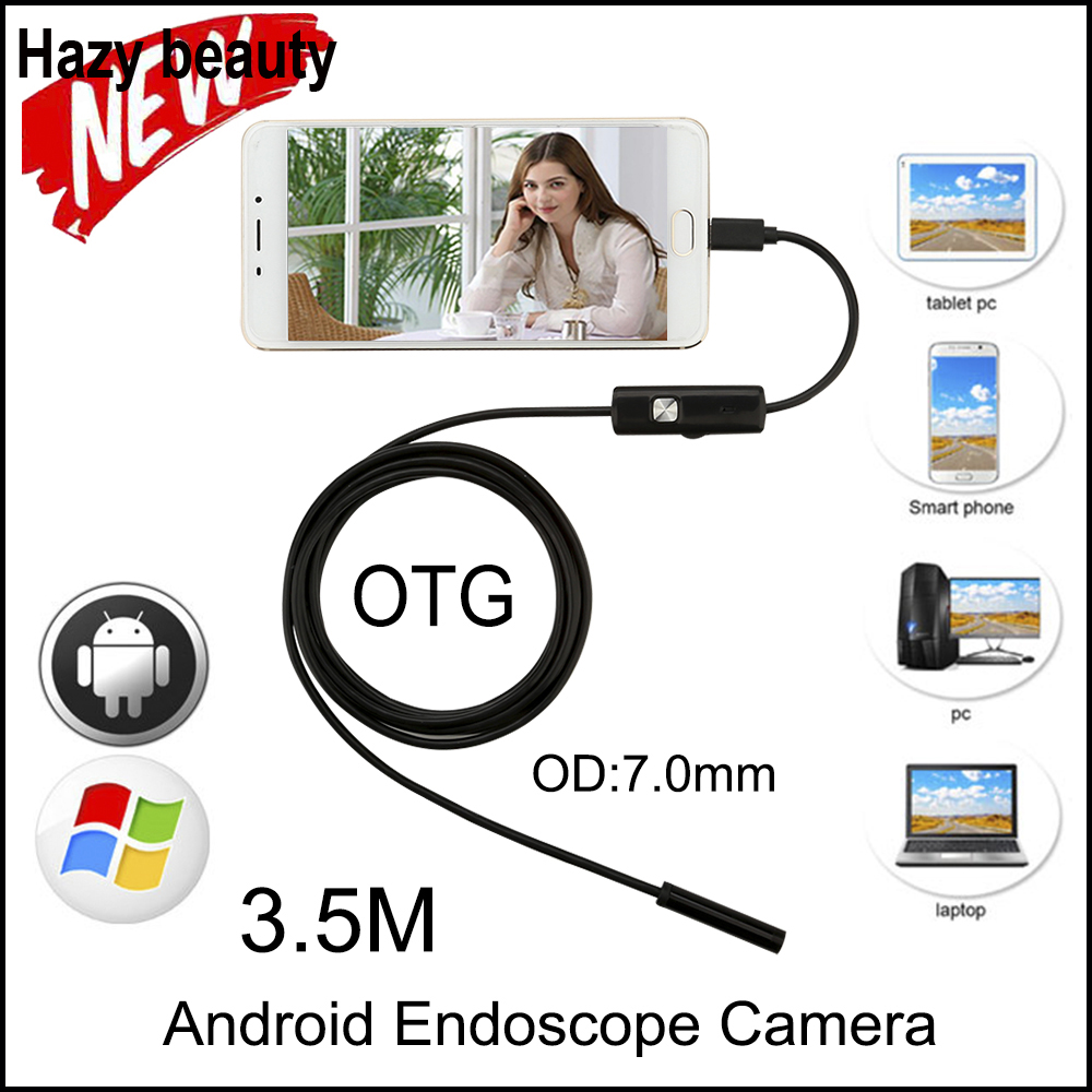 Hazy beauty 3.5M Mini Android Endoscope Snake OTG USB Endoscope 7mm Lens IP67 Waterproof USB Borescope Pipe Inspection Camera hazy beauty usb android endoscope 8mm 5m length endoscope 2m hd inspection snake camera waterproof snake pipe borescope cam