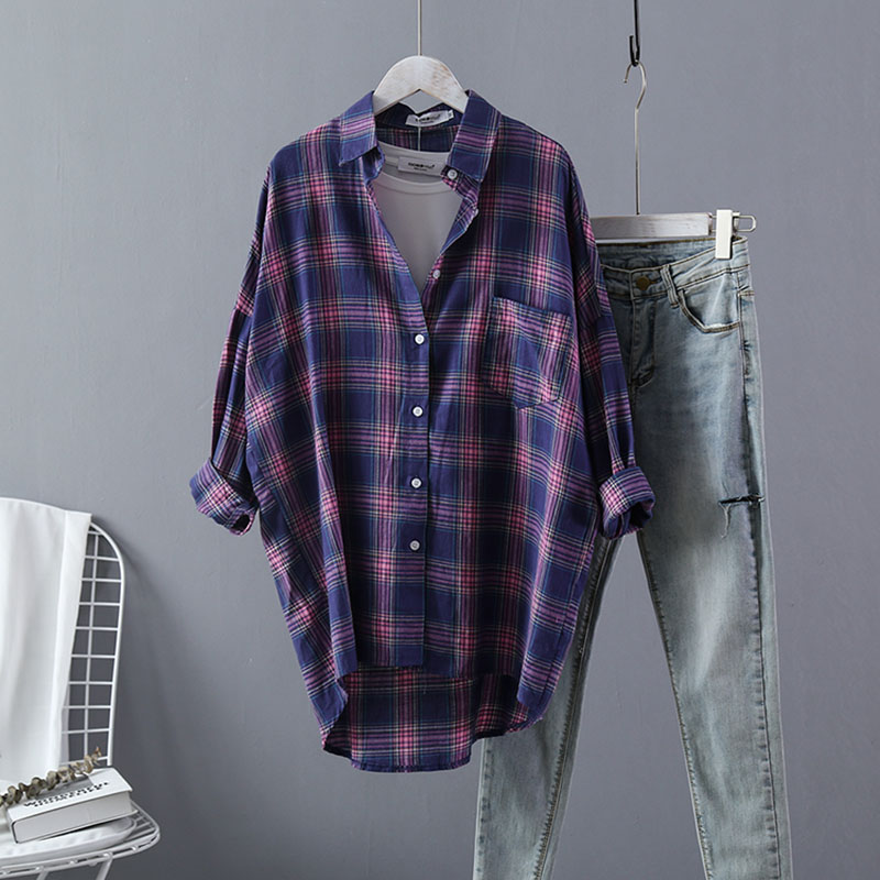 VogorSean Cotton Plaids Women   Blouse     Shirt   2018 Autumn Summer Boutique Fashion Purple/Yellow/Red/Blue Womens   Shirts   Plaid Tops