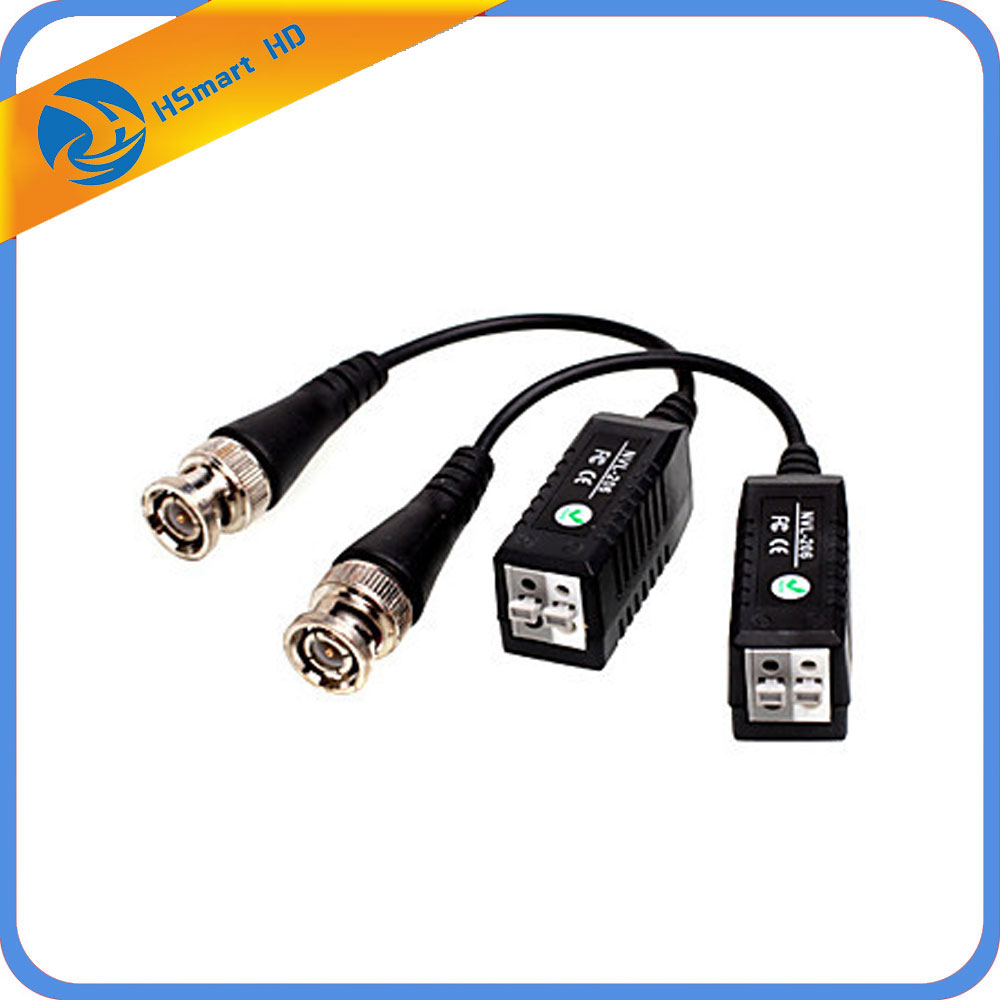 2PCSx BNC Video Passive Balun To UTP Connector CCTV Camera Transceiver New For Dvr Recorder Kits