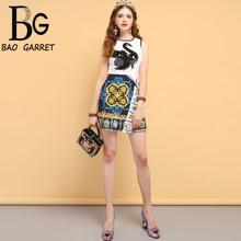 Baogarret Summer Fashion Designer Dress Womens Sequined Appliques Animal Printed Splice Elegant Ladies Vacation Dresses