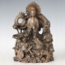 ATLIE BRONZES Bronze Guanyin with Double Dragon Bodhisattva Figure The Goddess Of Mercy Religious figure Buddha