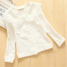 Toddler Girls Long Sleeve Tops Lace Collar Blouse Cotton Bottoming Shirts 1-3Y