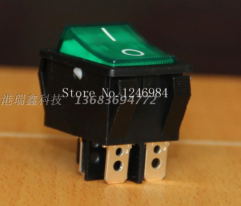 [SA]Taiwan bright group of dual power switch legs in black edge green 25A high current exchange large rocker switch R5--20pcs/lo лупа bao workers in taiwan ma 1003mf 3d 12