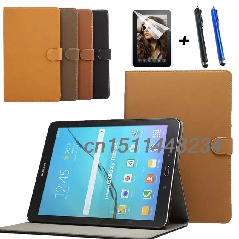 Hot sale Luxury retro PU Leather case cover For Samsung Galaxy Tab S2 9.7 T810 T815 T813 T819 stand smart cover+ film + stylus luxury folding flip smart pu leather case book cover for samsung galaxy tab s 8 4 t700 t705 sleep wake function screen film pen