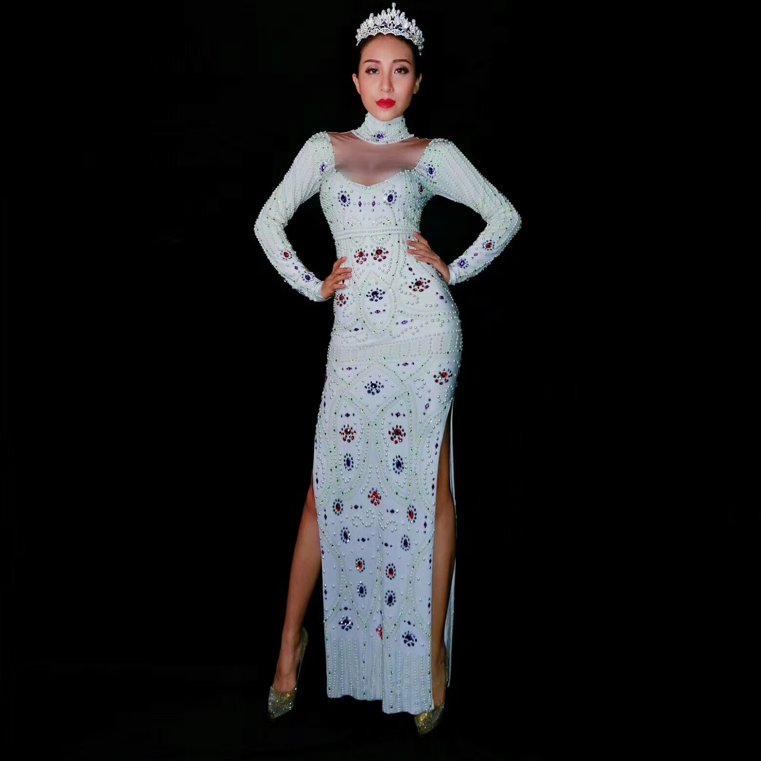 Cristaux Skinny Diamants Pour Partie 2019 Blanc Longueur De La Longues Occasion Scintillant Élégant Cheville Sexe Manches Femmes Robes Split 1AqzOAxw