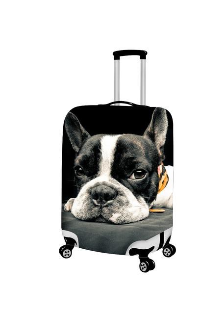 3D Bonito Bulldog Francês À Prova D' Água Bagagem Tampas De Proteção Contra Poeira Fof 18 20 22 24 26 28 30 polegada de Viagem de Bonde Mala Elástica