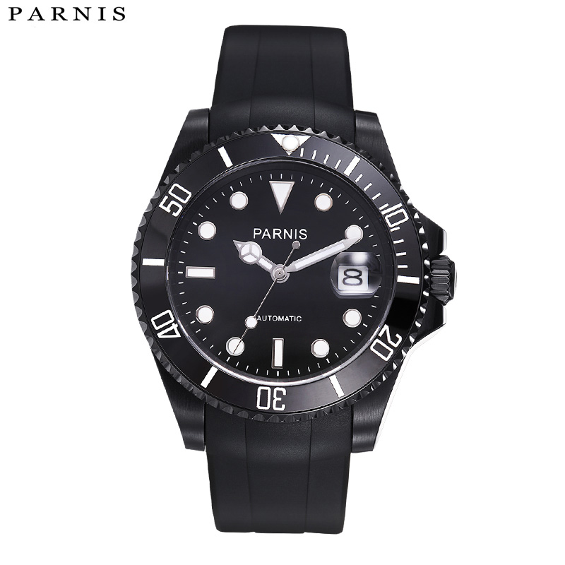 Parnis 40mm Automatic Watch 10ATM Siwm Diver Waterproof Mechanical Watch Man with Black Rubber Strap Ceramic