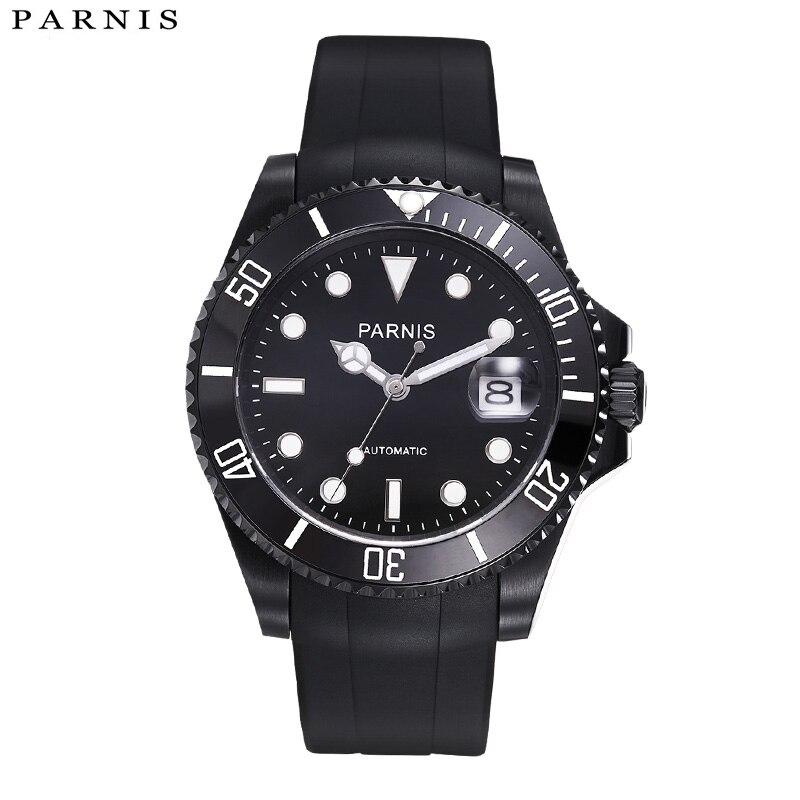 Parnis 40mm 자동 시계 10atm siwm 다이버 방수 기계식 시계 남자 블랙 고무 스트랩 세라믹 베젤 xfcs-에서기계식 시계부터 시계 의  그룹 1