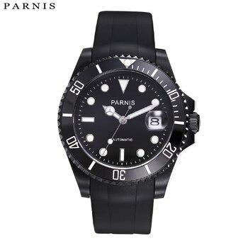 Parnis 40mm Automatische Uhr 10ATM Siwm Diver Wasserdichte Mechanische Uhr Mann mit Schwarz Gummi Armband Keramik Lünette xfcs