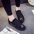 Осень и зима холст обувь с хлопком обувь студенток и женский хан издание плоским байки приливные плоские туфли случайные s
