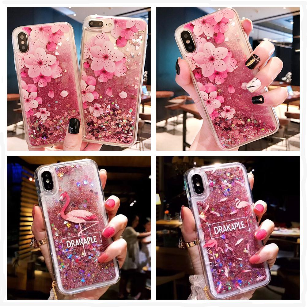 Liquid Quicksand Soft Silicone Phone Case For iPhone X XS Max Peach blossom Flamingo Cases For iPhone 6 6S 7 8 Plus XR 5 5S SE