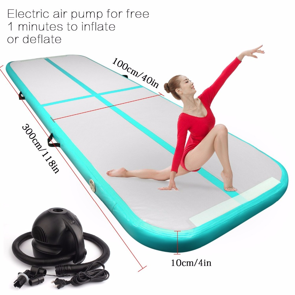 Hot Sale Inflatable Gymnastics Tumbling Air Track Floor Bouncer with Electric Air Pump for Home Use/Training/Cheerleading/Beach free shipping 6x1x0 2m cheap inflatable gymnastics tumbling mat air floor for home use beach park and water free one pump