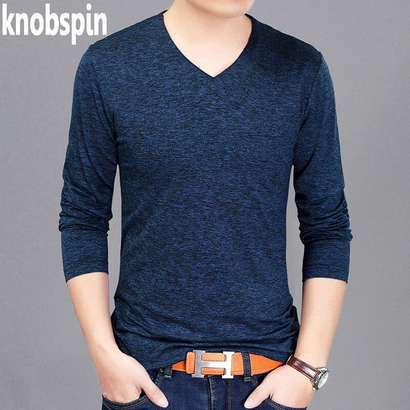 Nowy Moda Męska Koszulka V neck z długim rękawem Slim fit tshirt homme 2017 Jesień Stałe Oddychające Miękkie Bawełniane Topy tee plus size