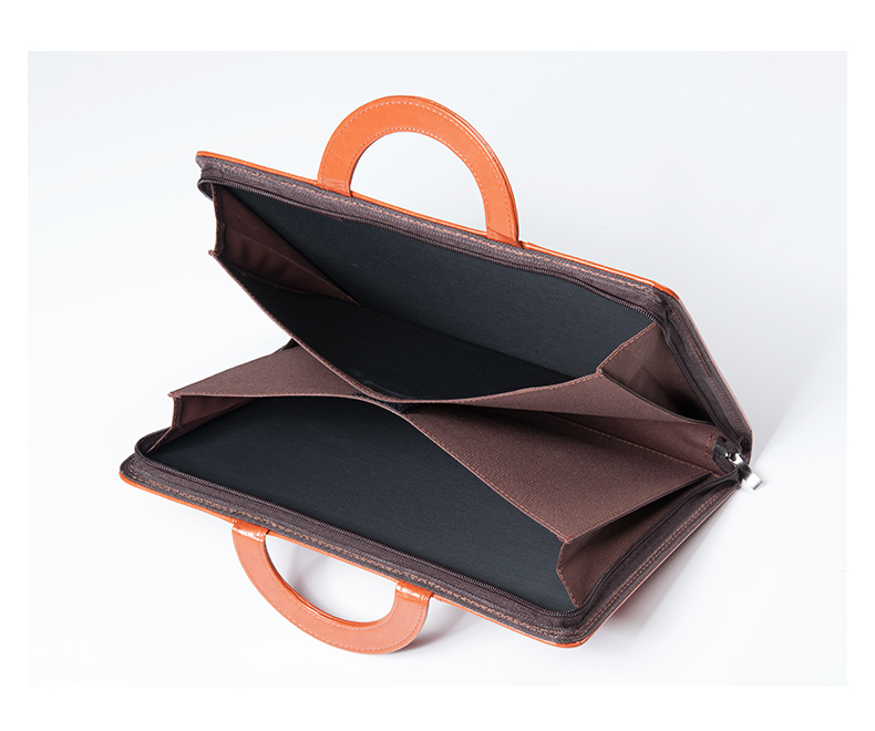 black brown A4 zipper document bag for man business luxury zipper portfolio file handbag car documents holder school portable hand strap zipper closure files document bag black