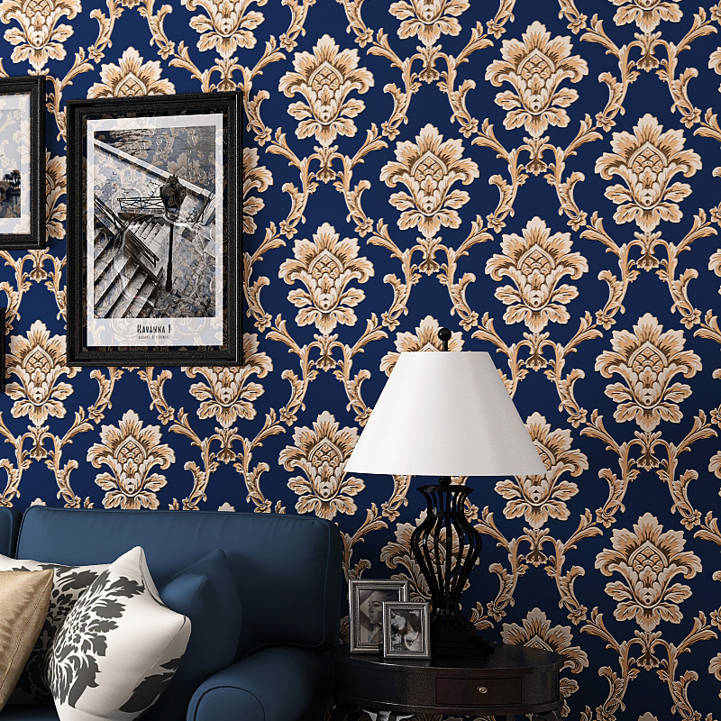 European Style Retro 3D Embossed Floral Damask Wallpaper Non-Woven Pure Paper Living Room Study Bedroom TV Background Wall Paper