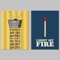 פוסטרים מגניבים מודרני קישוט אותיות אור אש בסרטים תמונות אמנות קיר בד ציור לסלון בית תפאורה לא ממוסגר