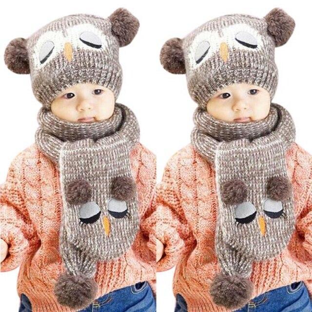 Mooie Warme Winter Babymutsje Sjaal Leuke Uil Haak Gebreide Dual Bal
