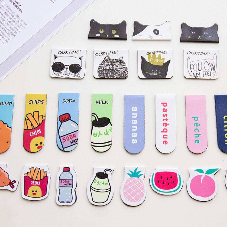 Pinkinahy Store 2PCS/ lot Magnet bookmarks cats Food Pineapple designs Make funny books marker Magnetic page holder materials School supplies