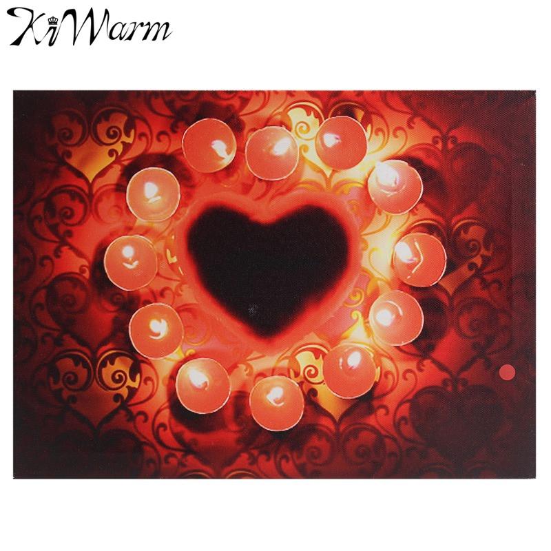 Flackern Roten Kerzen Leuchten LED Leinwand Malerei Kunst Wandbild Fr Zuhause Wohnzimmer Hotel Flur Weihnachten Decor