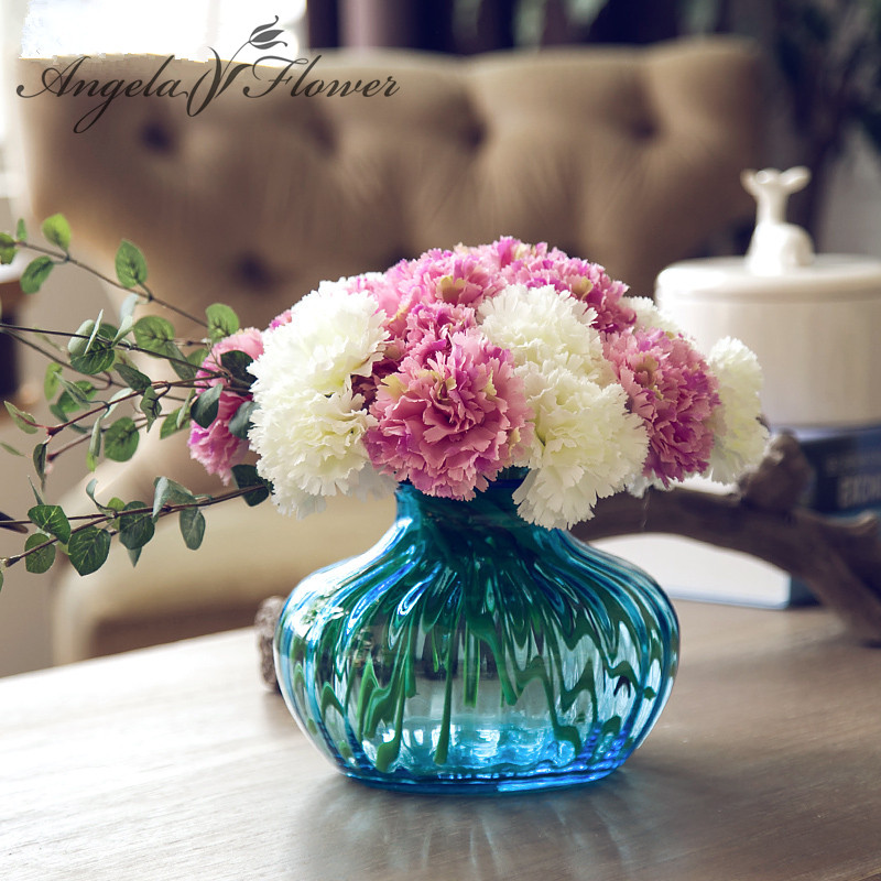 Cute colorfull 1pcs 1 head carnation artificial flower for Artificial flowers decoration home