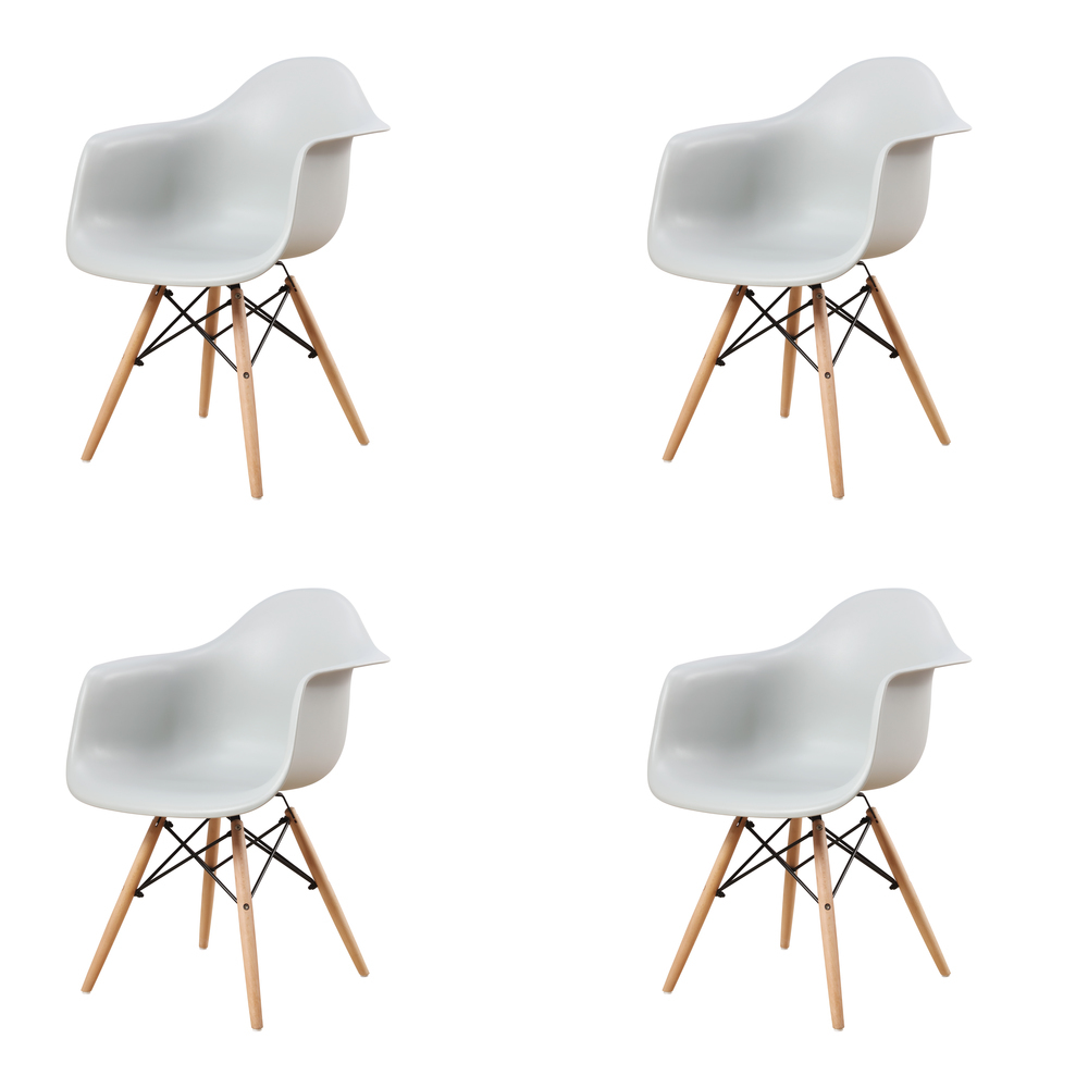 New Set of 4 Grey Modern Dining Room Arm Chair Minimalist Office Kitchen Coffee Leisure Chairs Plastic Furniture Armchair Gray