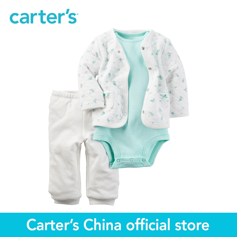 Carter's 3pcs baby children kids Mint Padded Cardigan Set 121H346,sold by Carter's China official store carter s 1 pcs baby children kids long sleeve embroidered lace tee 253g688 sold by carter s china official store