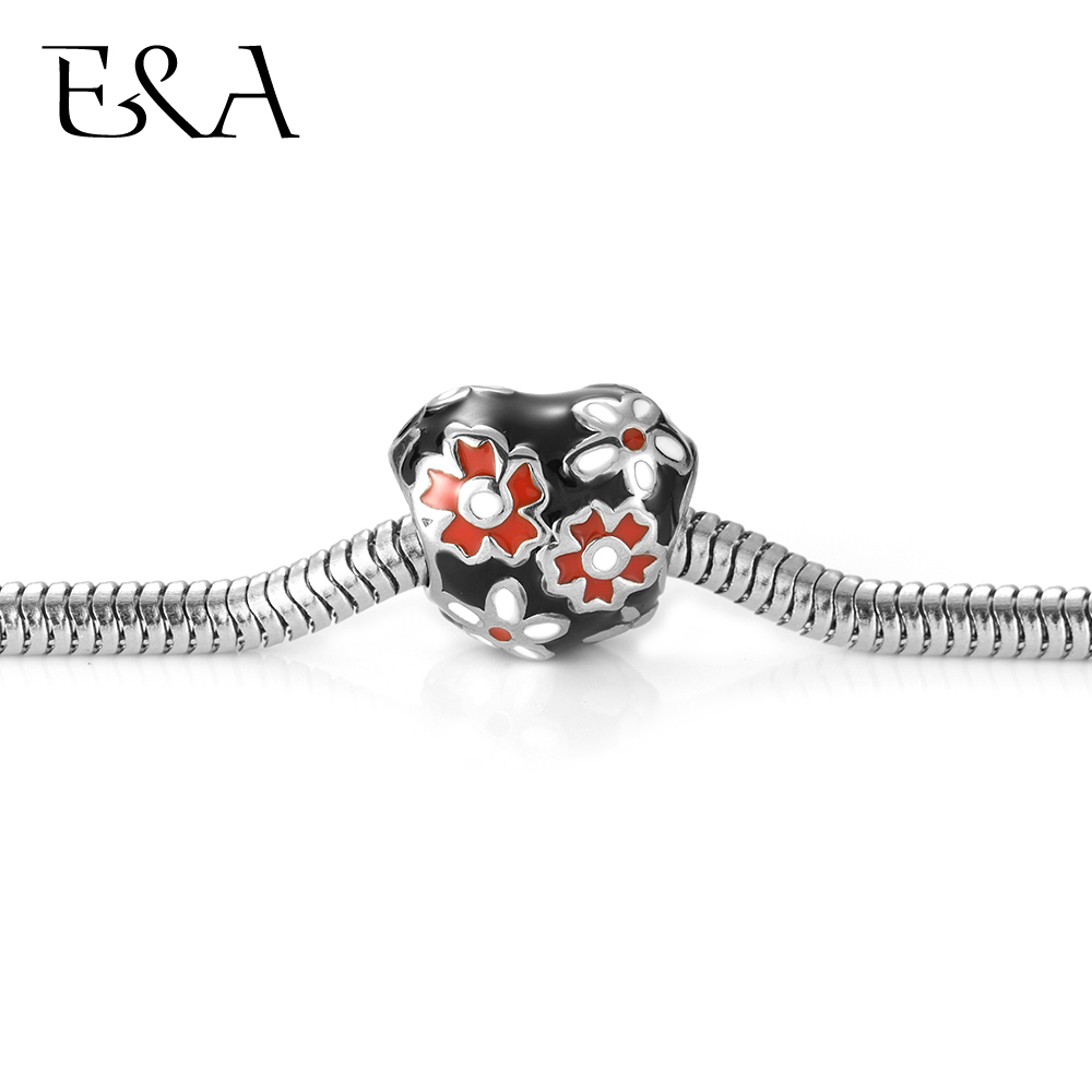 Enamel Heart Beads Painted Flower Stainless Steel Hole 5mm for Women Bracelet Charms Making European Bead DIY Jewelry Findings in Beads from Jewelry Accessories