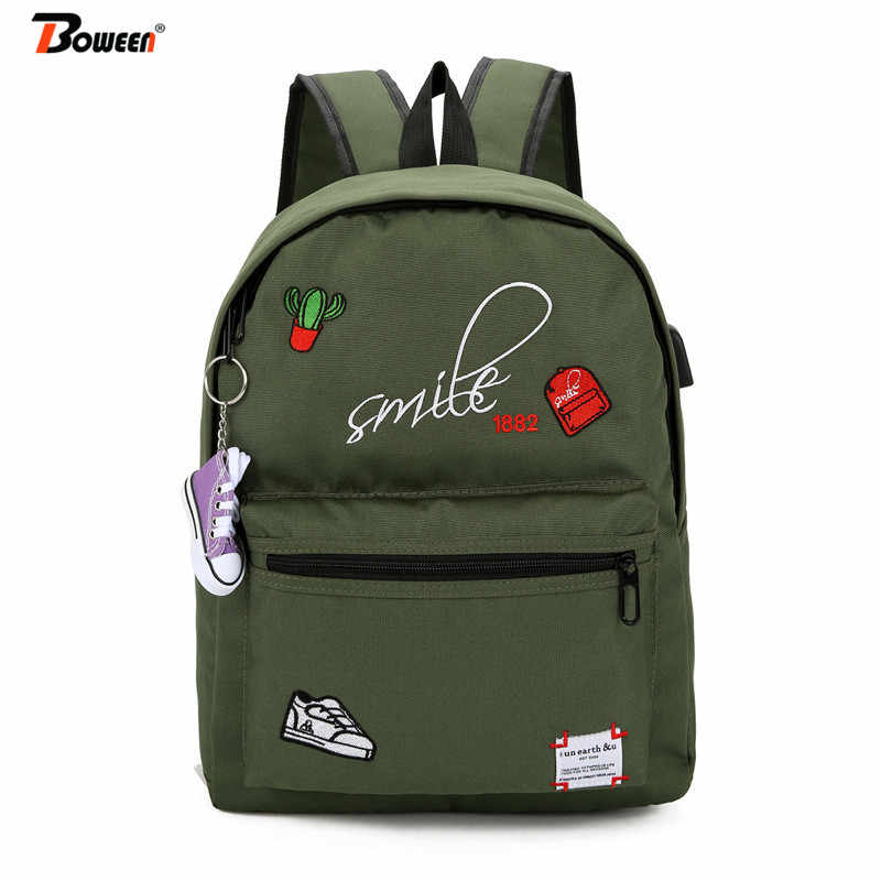 Teens women backpack for girls school bag Canvas Usb Charging Student Schoolbag female teenagers bookbag black 2019 new