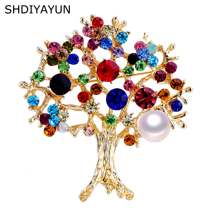 SHDIYAYUN Pearl Brooch Colorful Rinestone Tree Brooch For Women Gold Brooch Pins Natural Freshwater Pearl Jewelry Dropshipping
