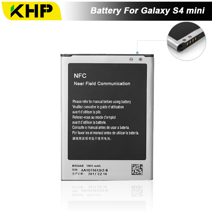 NEW 2017 100% Original KHP B500BE 4 Pin Phone Battery For Samsung Galaxy S4 Mini i9190 I9192 Battery Replacement Mobile Battery