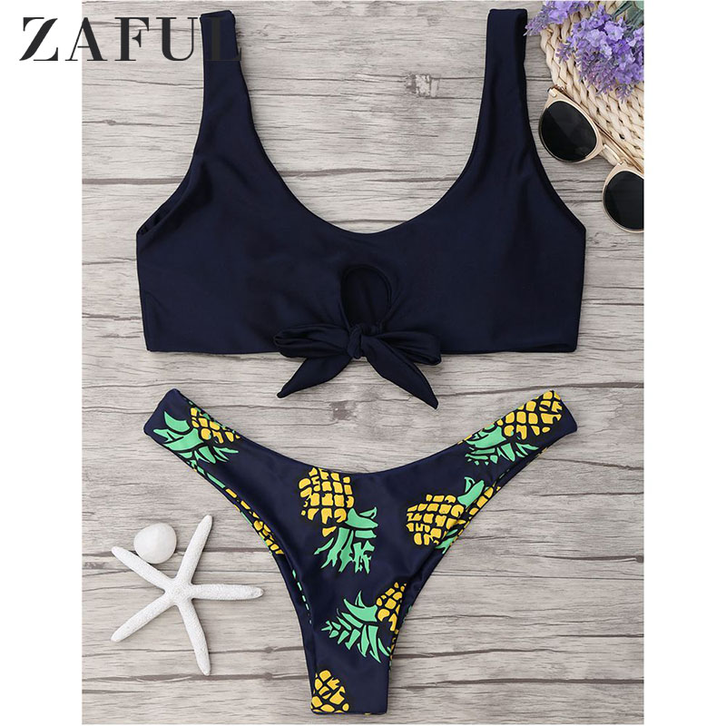 ZAFUL <font><b>2018</b></font> <font><b>Women</b></font> New Pineapple Print Thong Bottom Bikini Set Summer <font><b>Sexy</b></font> Swimwear Spaghetti Straps <font><b>Swimsuit</b></font> Colorful Biquini image