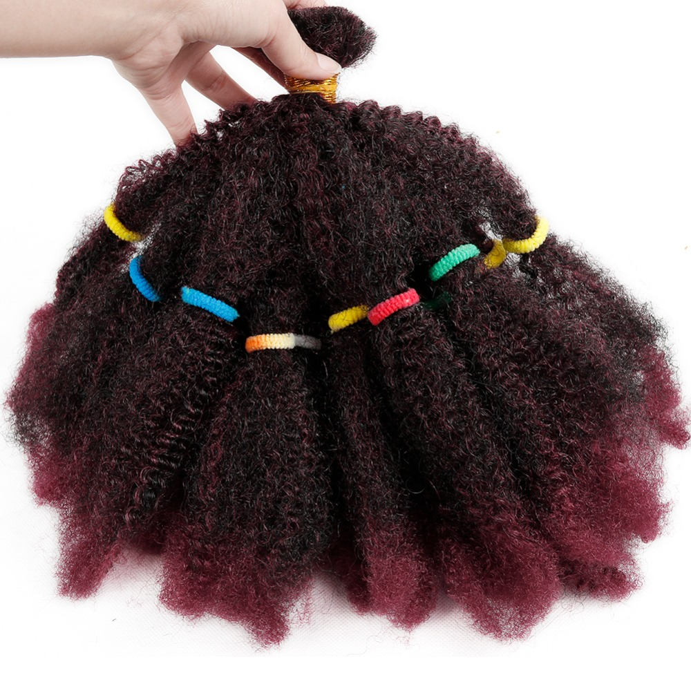 FAVE Braids Hair Afro Kinky Bulk Afro Curly Synthetic Hair Short 12