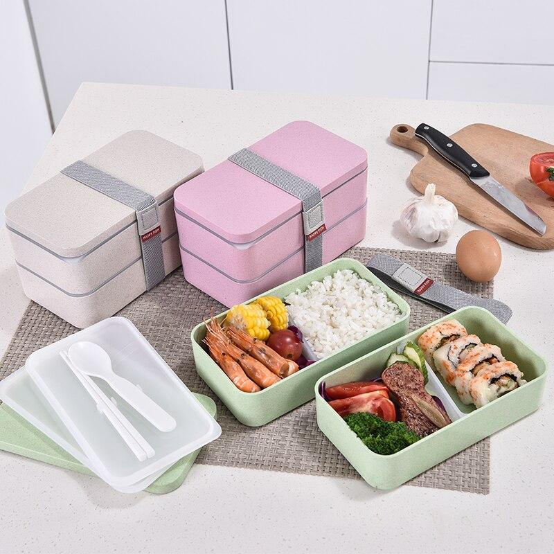 1200 мл Пшеничная солома двухслойная коробка для ланча с ложкой здоровый материал Bento Коробки Микроволновая печь контейнер для хранения еды Ланчбокс Коробки для обеда      АлиЭкспресс