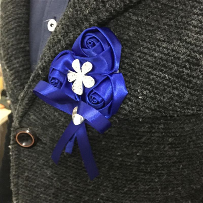 Royal Blue Rose Silk Flower Wrist Corsage Hand Flower Bride