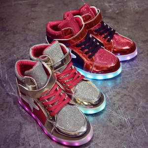 pretty nice bb4a6 6d8e5 Kids Light Shoes Silver Gold 26-40 USB Charger Glowing Sneakers Led  Children Light Shoes Boys Girls illuminated Luminous Sneaker