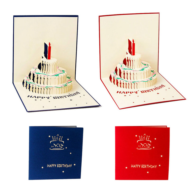 Free Delivery 3d Pop Up Greeting Card Handmade Happy Birthday Cake