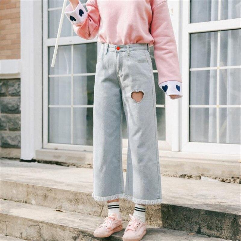 2018 Spring Korea Women's New small fresh love bts Left blank ankle lengeh pant Harajuku quality denim wide leg Pants S-L