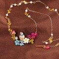 Francesa Les Nereides pájaro sucursal flores mujeres collar de cuentas elegante del todo fósforo suéter collares joyería marca