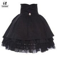 ROLECOS Black Poplin Solid Girls School Skirt Ball Gown Retro Princess Style Lolita Skirt High Waist