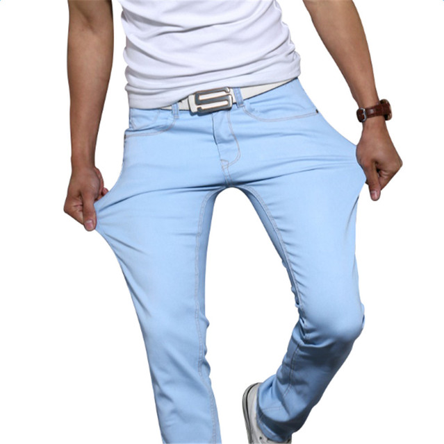 71a1a9b457b45 Pantalones Verano Hombre Jeans Rectos Ocasionales 2016 Nueva Moda Largo  Slim Fit mediados Casual pantalones Stretch