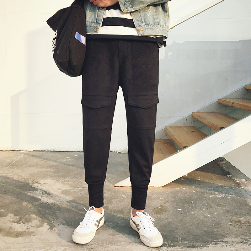 2018 di Inverno dei Nuovi Uomini di Modo di Stile Coreano In Pelle Scamosciata Tessuto di Auto-coltivazione Pantaloni Piedi Fasciati Elastico Addensare Pantaloni Casual m-3XL