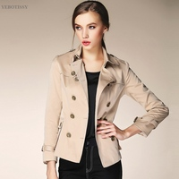 Women Short Trench Coat Good Quality For Female Ladies New Short Outwear Brown Slim Trech Coat