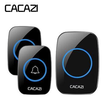 CACAZI negro impermeable timbre inalámbrico 300 m llamada remota EU/UK/ee.uu. Plug LED puerta campana 220 V 1/2 botones 1/2 receptores