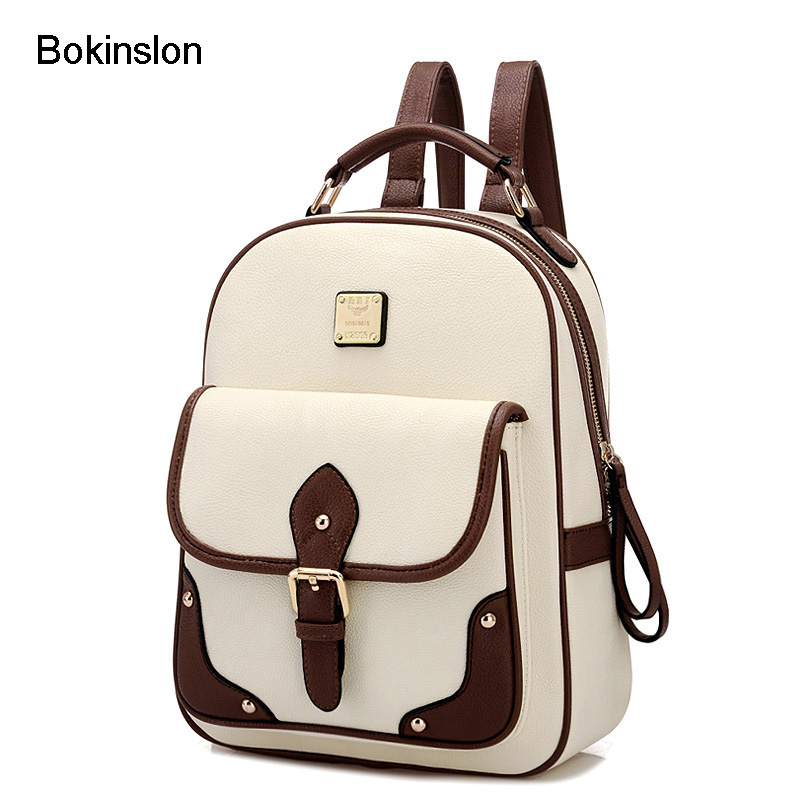 Bokinslon Popular Backpack Ladies British Style Student Fashion Girls School Bags Retro Pu Leather Backpack For Women chic canvas leather british europe student shopping retro school book college laptop everyday travel daily middle size backpack