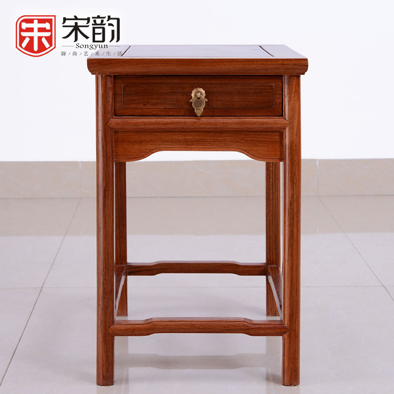 Rosewood Furniture Wood Classical Small Tea Table With Drawers Burma Rosewood Edge Few Pure Wood Corner